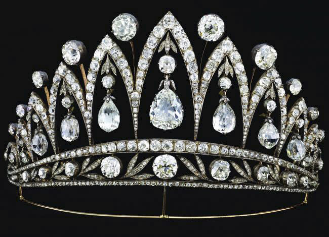"""The dazzling Empress Josephine diamond tiara is shown in this undated photo from the Houston Museum of Natural Science. The tiara is on display at the museum as part of the largest private collection in the United States of items from the Russian artisan Peter Carl Faberge. Featuring more than 350 objects, the exhibit """"Fabergé: A Brilliant Vision,"""" runs through Dec. 31, 2013 at the Houston Museum of Natural Science. (AP Photo/Houston Museum of Natural Science)"""