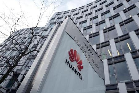 Logo of Huawei is seen in front of the local offices of Huawei in Warsaw