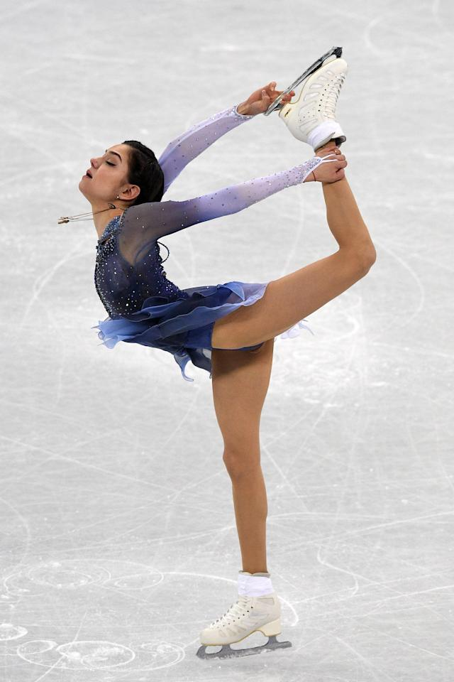 <p>Russia's Evgenia Medvedeva competes in the figure skating team event women's single skating short program during the Pyeongchang 2018 Winter Olympic Games at the Gangneung Ice Arena in Gangneung on February 11, 2018. / AFP PHOTO / Roberto SCHMIDT </p>