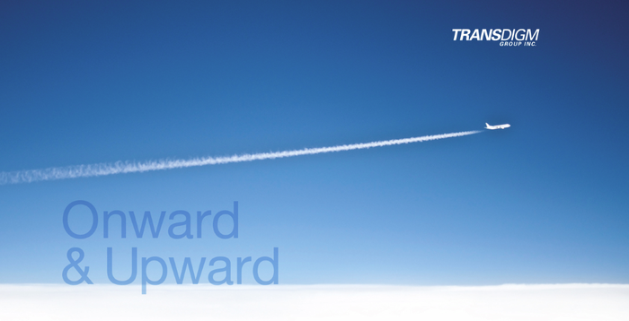 Plane with contrail in blue sky, with text.
