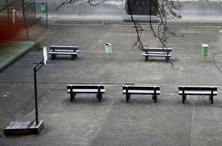 An empty playground is pictured at a closed primary and secondary school in Brussels, November 23, 2015, after security was tightened in Belgium following the fatal attacks in Paris. REUTERS/Francois Lenoir