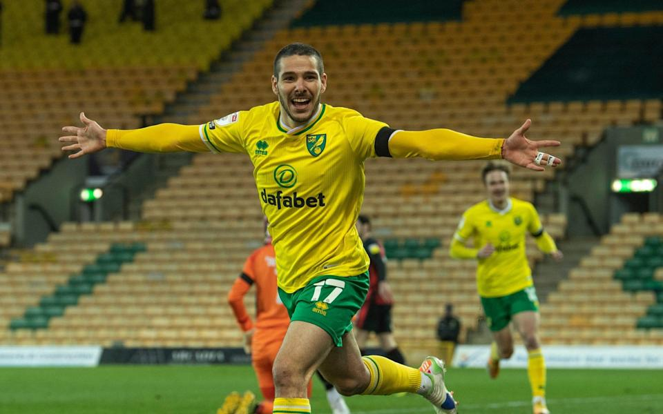 Norwich City's Emiliano Buendia celebrates scoring the opening goal during the Sky Bet Championship match between Norwich City and AFC Bournemouth at Carrow Road on April 17, 2021 in Norwich, England. - GETTY IMAGES