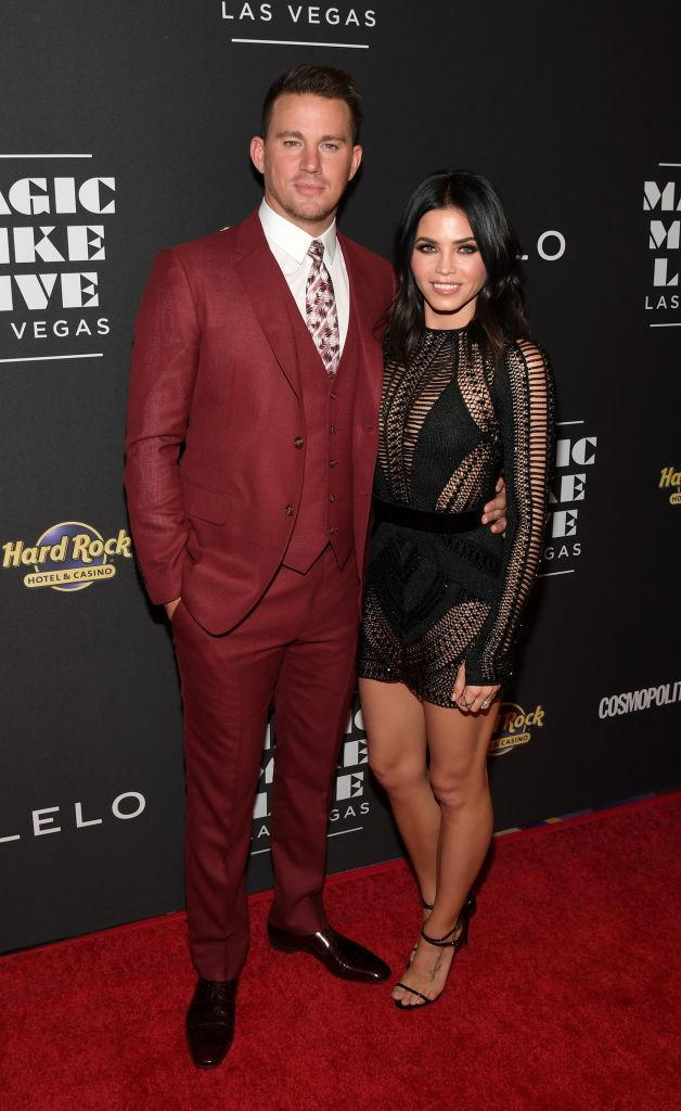 Jenna Dewan Tatum in Julien MacDonald, with her hubby, Channing Tatum. (Photo: Getty Images)