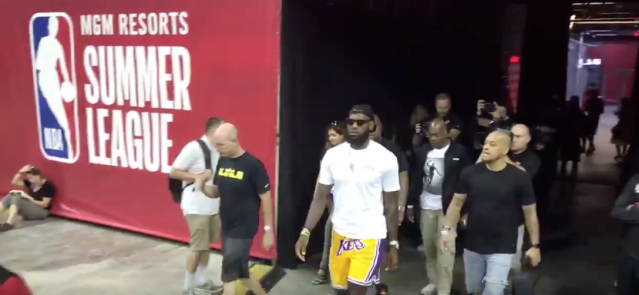 LeBron James, sporting Lakers shorts, enters Summer League (via @World_Wide_Wob on Twitter)