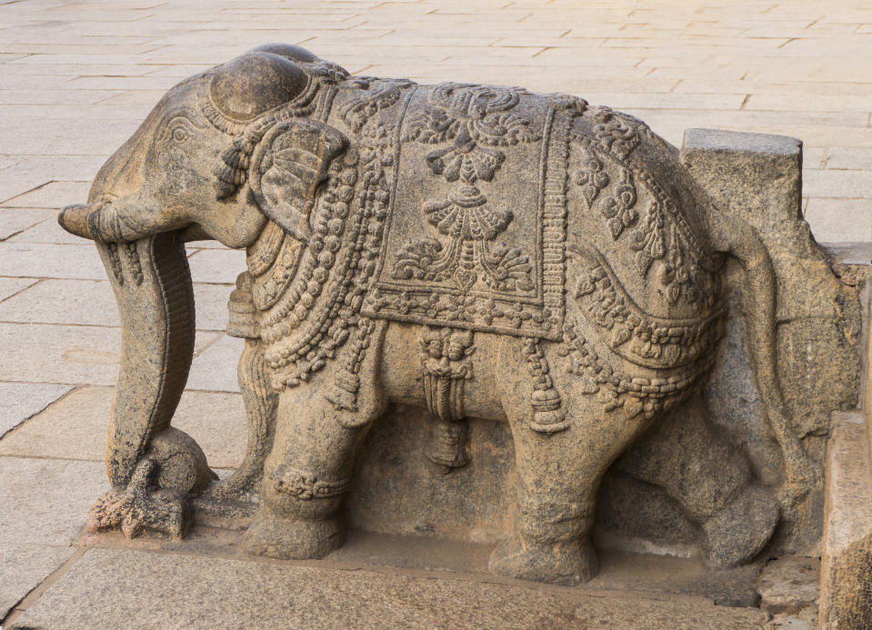 Above the central arch is a sculpture of Gajalakshmi, the Goddess of wealth, prosperity, fortune, and abundance with her elephants.