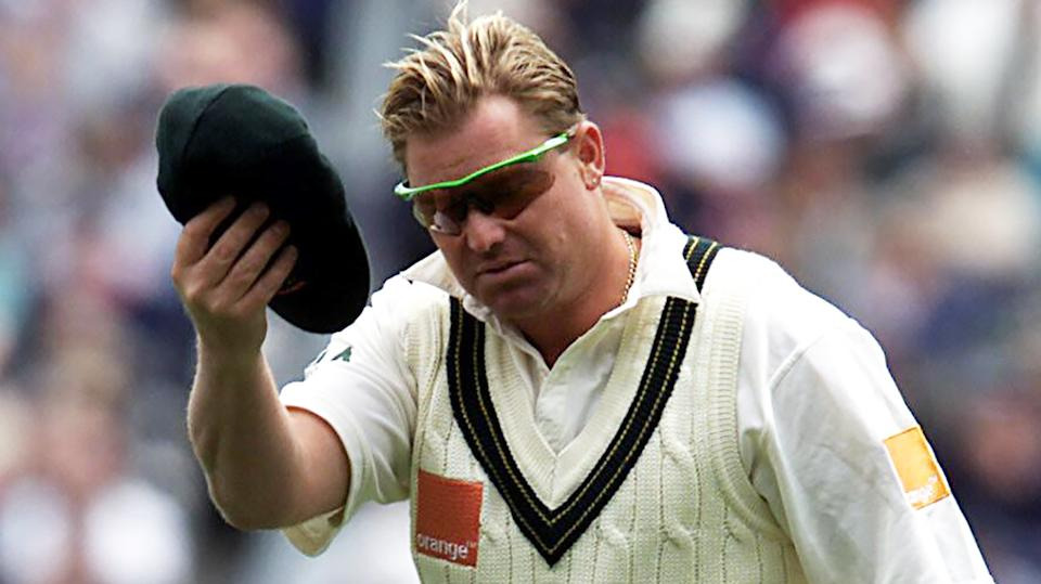 Shane Warne, pictured during the 2001 Boxing Day Test, is auctioning his baggy green cap to raise money for bushfire relief efforts.