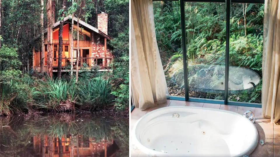 """Hidden in the Black Spur rainforest on the edge of Victoria's Yarra Valley, this <a href=""""https://www.expedia.com.au/Narbethong-Hotels-Woodlands-Rainforest-Retreat.h9626456.Hotel-Information"""" rel=""""nofollow noopener"""" target=""""_blank"""" data-ylk=""""slk:boutique retreat"""" class=""""link rapid-noclick-resp"""">boutique retreat</a> is the ultimate hideaway. Designed to give travellers complete privacy, each cottage is hidden within the rainforest, offering complete seclusion. Photo: Supplied/Expedia"""