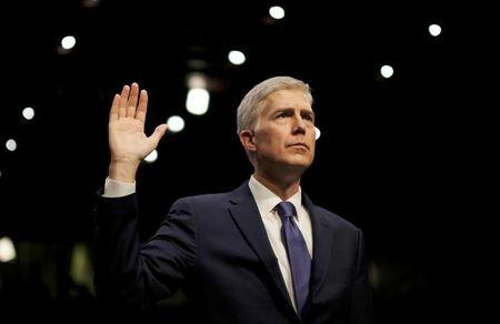 FILE PHOTO - Supreme Court nominee judge Gorsuch sworn in at his Senate Judiciary Committee confirmation hearing in Washington