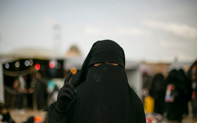 File image of a woman posing for a portrait at Al-Hol camp, which holds families of Islamic State members, near Hasakeh, Syria - AP