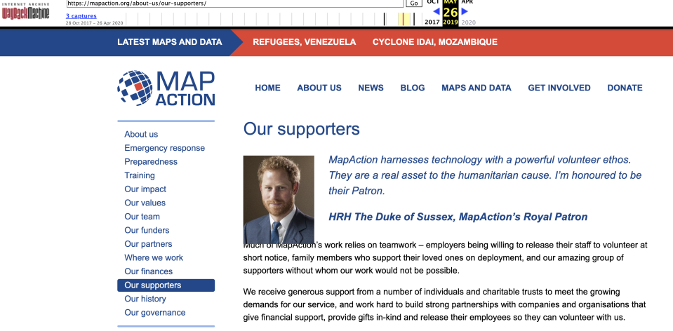 The website for Map Action as it looked in May last year.