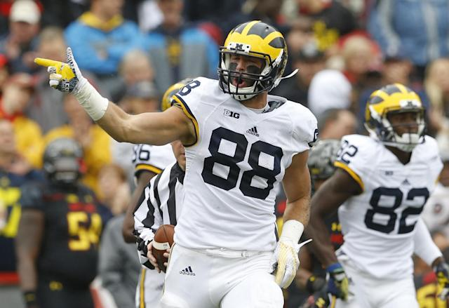 "Michigan tight end <a class=""link rapid-noclick-resp"" href=""/ncaaf/players/225755/"" data-ylk=""slk:Jake Butt"">Jake Butt</a> was considered a potential first round pick until he injured his knee in the Orange Bowl. (AP Photo/Patrick Semansky, File)"