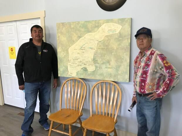 St'uxwtews First Nation Elder Gerald Etienne, right, and Coun. Keith Zabotel said they initially wanted the remains put them back in the locations where they were discovered.