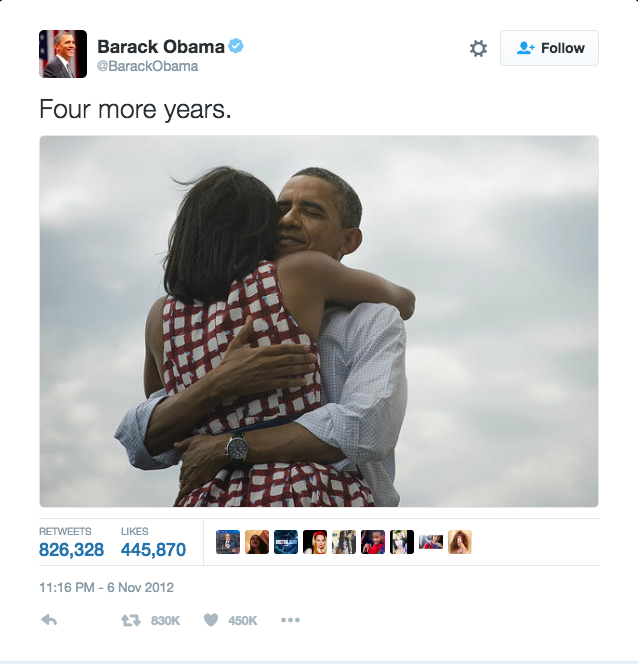 <p>When they broke the Internet with this tweet. [Photo: Twitter/barackobama]</p>