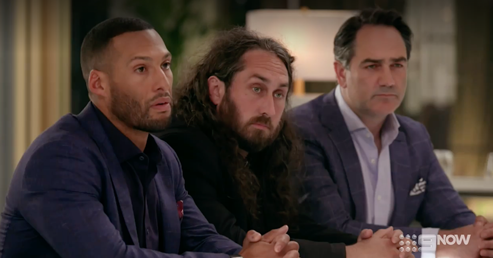 Josh Gibson, Ross Noble and Wippa in the Celebrity Apprentice boardroom.