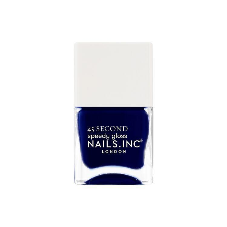 """<p><strong>Nails Inc.</strong></p><p>sallybeauty.com</p><p><strong>$8.99</strong></p><p><a href=""""https://go.redirectingat.com?id=74968X1596630&url=https%3A%2F%2Fwww.sallybeauty.com%2Fnails%2Fnail-polish%2F45-second-speedy-gloss%2FNAILINC01.html&sref=https%3A%2F%2Fwww.harpersbazaar.com%2Fbeauty%2Fnails%2Fg33660165%2Fnail-colors-for-dark-skin%2F"""" rel=""""nofollow noopener"""" target=""""_blank"""" data-ylk=""""slk:Shop Now"""" class=""""link rapid-noclick-resp"""">Shop Now</a></p><p>Time moves slowly when you're waiting for your nails to dry, but not with this new launch from Nails Inc. It boasts a 45-second dry time, even for dark colors like this jewel-toned blue.</p>"""