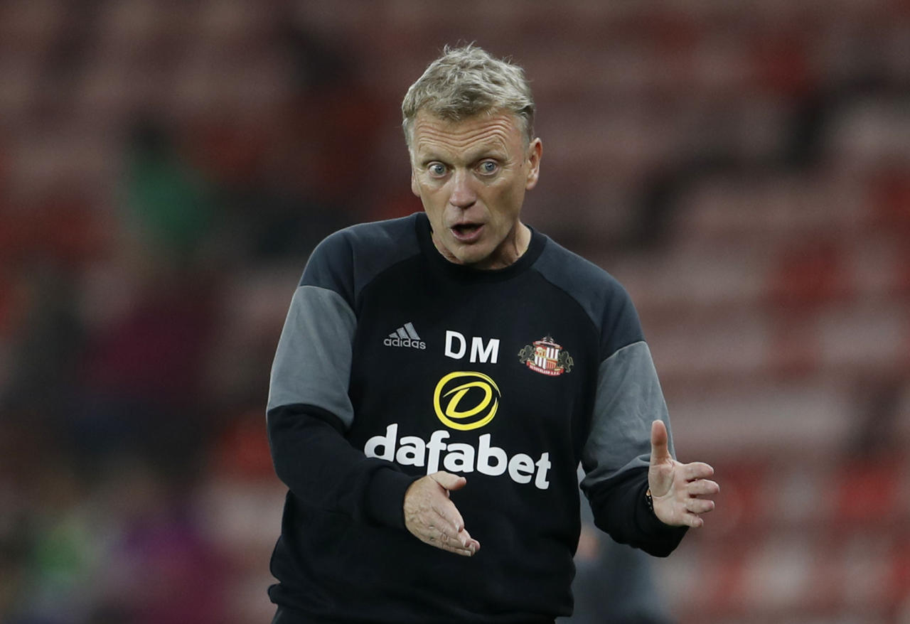 "Football Soccer Britain - Sunderland v Shrewsbury Town - EFL Cup Second Round - The Stadium of Light - 24/8/16 Sunderland manager David Moyes  Action Images via Reuters / Lee Smith Livepic EDITORIAL USE ONLY. No use with unauthorized audio, video, data, fixture lists, club/league logos or ""live"" services. Online in-match use limited to 45 images, no video emulation. No use in betting, games or single club/league/player publications.  Please contact your account representative for further details."