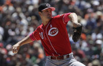 Cincinnati Reds pitcher Tyler Mahle throws to a San Francisco Giants batter during the first inning of a baseball game in San Francisco, Sunday, May 12, 2019. (AP Photo/Jeff Chiu)
