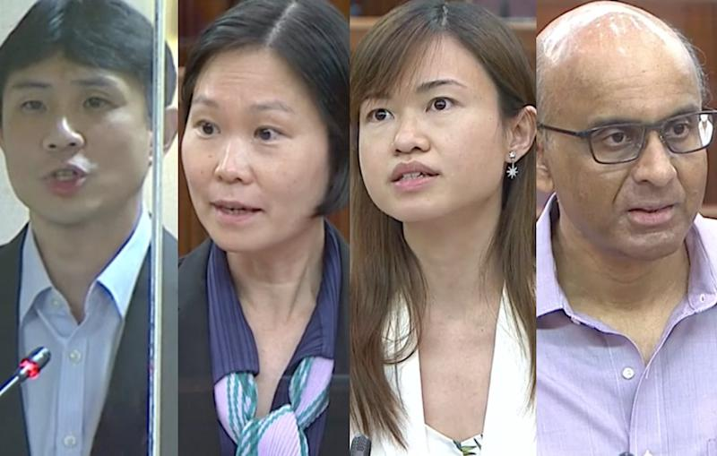 L-R: Workers' Party MP Jamus Lim and People's Action Party MPs Gan Siow Huang, Tin Pei Ling and Tharman Shanmugaratnam. (PHOTOS: Parliament screengrabs)