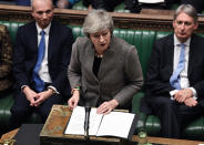 In this photo provided by the UK Parliament, Britain's Prime Minister Theresa May delivers a speech in the House of Commons in London, Monday, Dec. 17, 2018. Prime Minister Theresa May said Monday that the postponed vote in Parliament on Britain's Brexit agreement with the European Union will be held the week of Jan. 14 — more than a month after it was originally scheduled and just 10 weeks before Britain leaves the EU. (Jessica Taylor/UK Parliament via AP)
