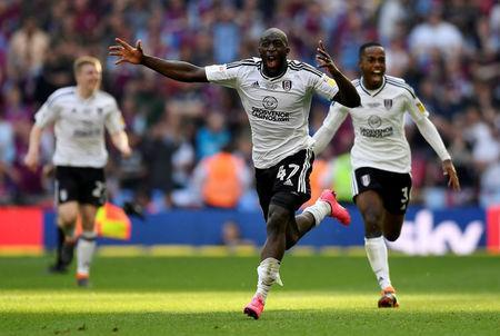 Soccer Football - Championship Play-Off Final - Fulham vs Aston Villa - Wembley Stadium, London, Britain - May 26, 2018 Fulham's Aboubakar Kamara celebrates promotion to the Premier League. Action Images via Reuters/Tony O'Brien