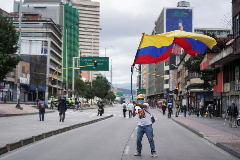 Demonstrators gather for an anti-government march demanding changes to the social and economic policies, during Colombia's Independence Day, in Bogota
