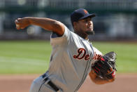 Detroit Tigers starter Ivan Nova pitches against the Pittsburgh Pirates in the first inning of a baseball game, Saturday, Aug. 8, 2020, in Pittsburgh. (AP Photo/Keith Srakocic)