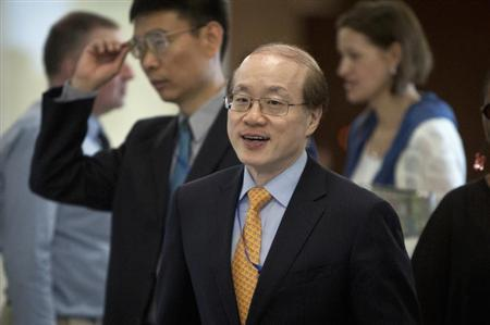 China's Ambassador Liu Jieyi arrives for a meeting of the five permanent members of U.N. Security Council in New York
