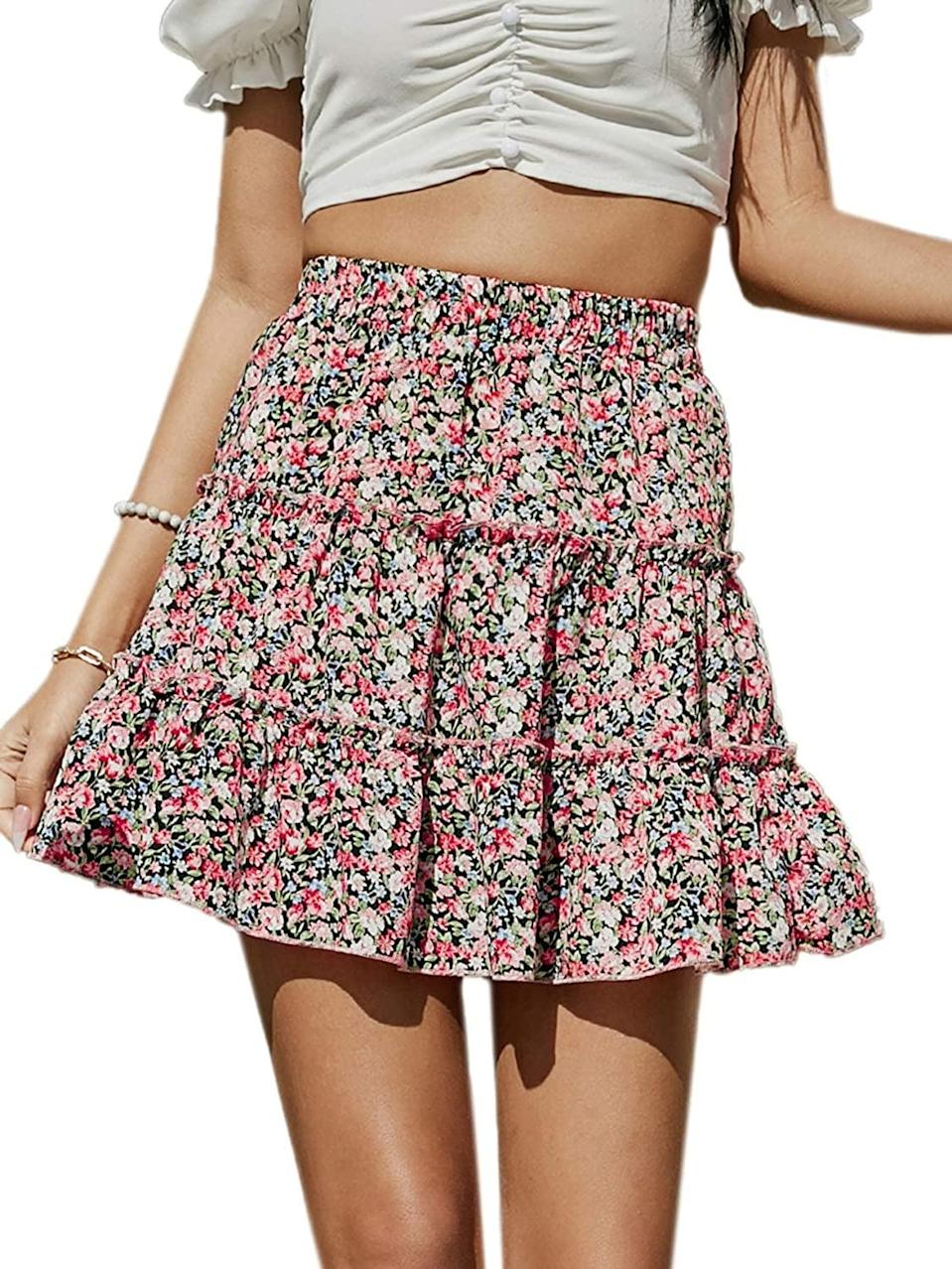 <p>You can style this <span>Layered Ruffle Flared Mini Skirt</span> ($19) so many ways.</p>