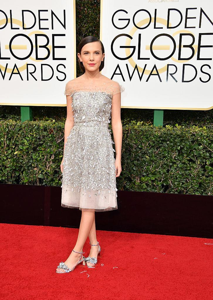 Millie Bobby Brown in Jenny Packham. (Photo: Getty Images)