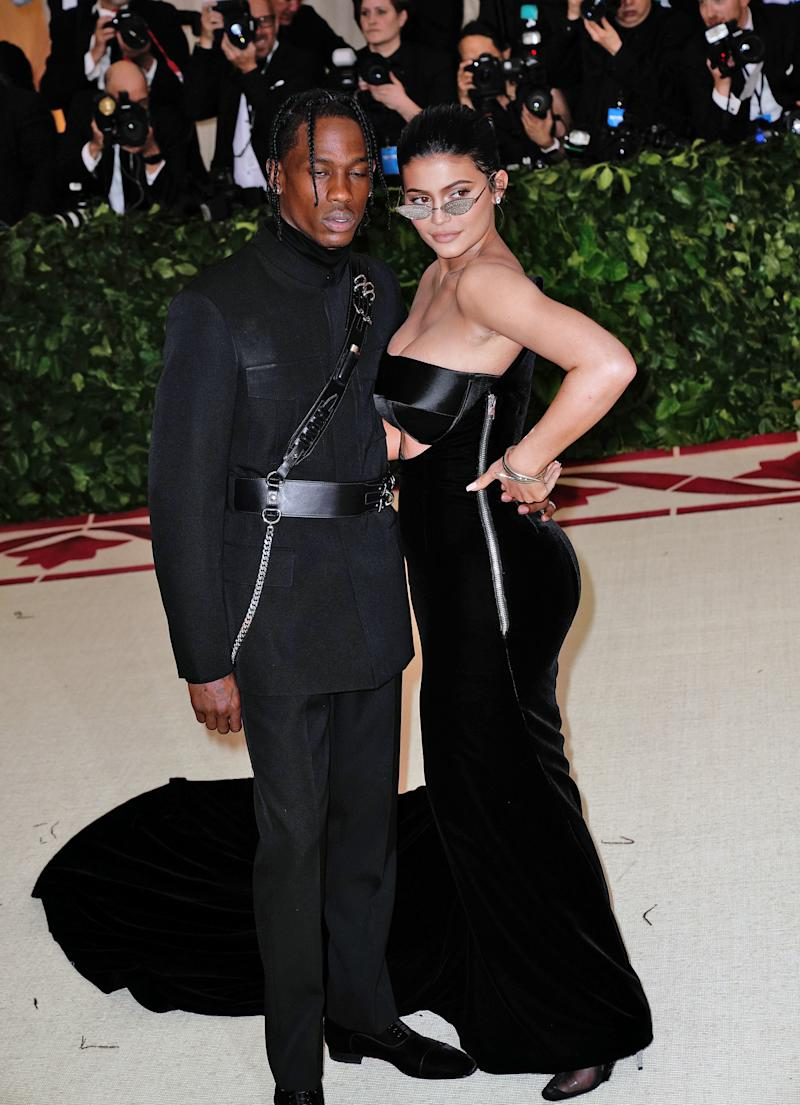 Kylie Jenner and Travis Scott attends Heavenly Bodies: Fashion & The Catholic Imagination Costume Institute Gala at Metropolitan Museum of Art. (Jackson Lee via Getty Images)