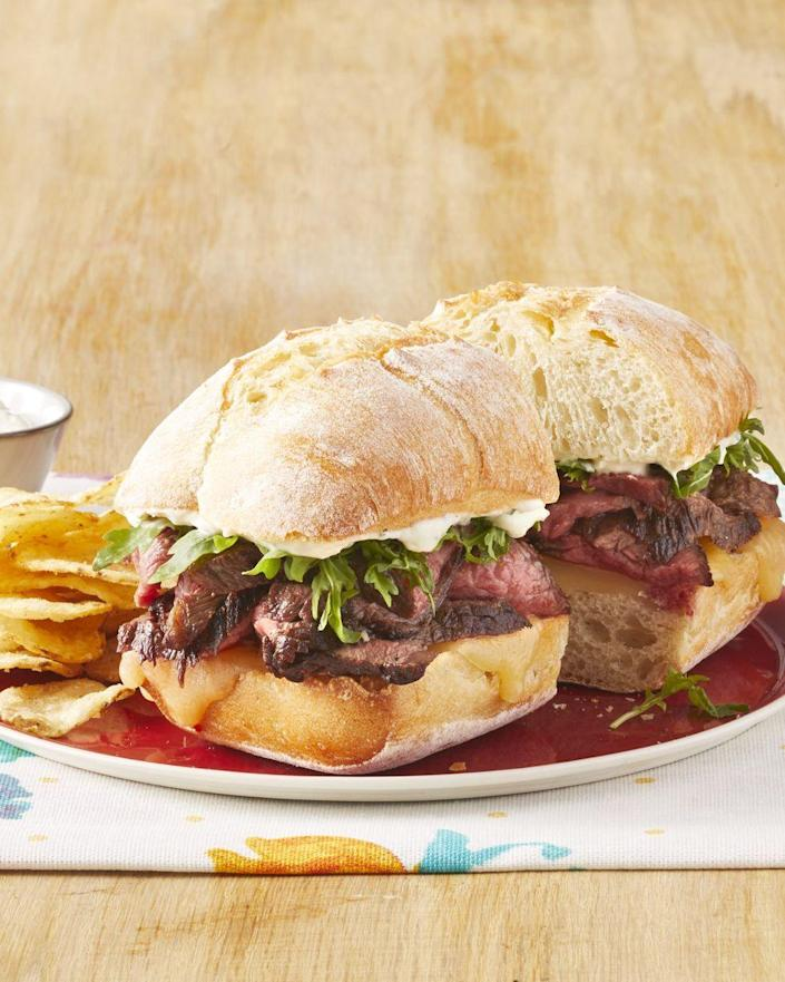 """<p>These steak sandwiches are begging for a handful of crispy French fries or onion rings on the side.</p><p><strong><a href=""""https://www.thepioneerwoman.com/food-cooking/recipes/a32464852/steak-sandwiches-with-wasabi-cream-sauce-recipe/"""" rel=""""nofollow noopener"""" target=""""_blank"""" data-ylk=""""slk:Get the recipe."""" class=""""link rapid-noclick-resp"""">Get the recipe.</a></strong> </p>"""