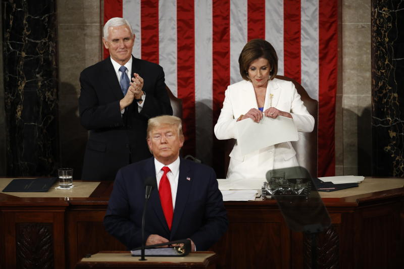 House Speaker Nancy Pelosi of Calif., tears her copy of President Donald Trump's s State of the Union address after he delivered it to a joint session of Congress on Tuesday, Feb. 4, 2020. (AP Photo/Patrick Semansky)