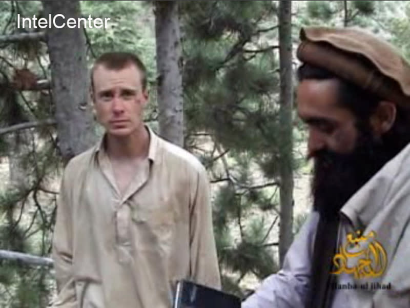 "FILE - This file image provided by IntelCenter on Wednesday Dec. 8, 2010 shows a framegrab from a video released by the Taliban containing footage of a man believed to be Sgt. Bowe Bergdahl, left. President Barack Obama called Bowe's parents to assure them that he and the U.S. Department of Defense were doing everything in their power to free him three years after his capture in Afghanistan. (AP Photo/IntelCenter)  MANDATORY CREDIT: INTELCENTER; NO SALES; EDS NOTE: ""INTELCENTER"" AT LEFT TOP CORNER ADDED BY SOURCE"