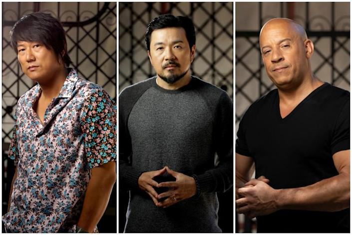 """Sung Kang(Han), director Justin Lin, and Vin Diesel(Toretto) of """"F9."""""""