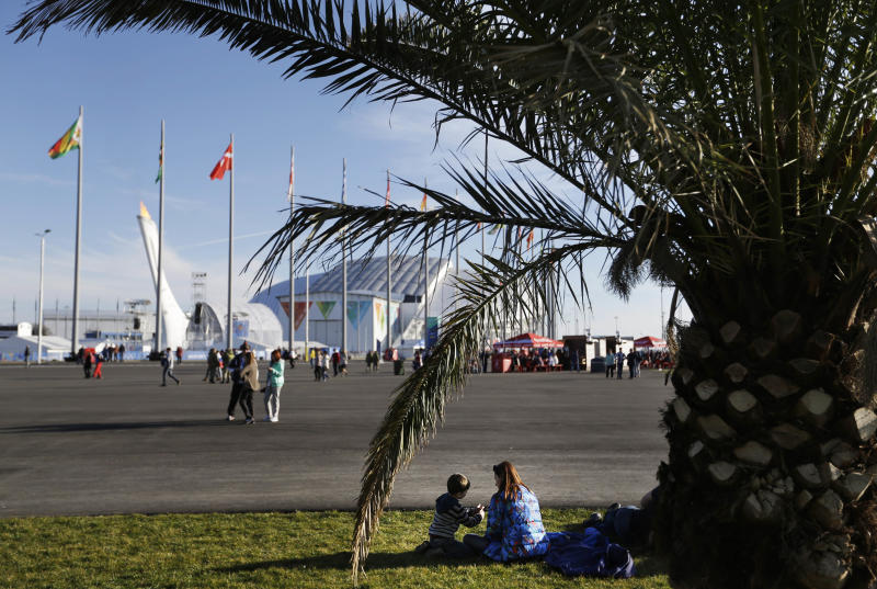 Visitors to the Olympic Park sit under a palm tree as the Olympic cauldron stands in the background at the 2014 Winter Olympics, Wednesday, Feb. 12, 2014, in Sochi, Russia. Temperatures are predicted near 60 degrees Fahrenheit in Sochi on Wednesday. (AP Photo/David Goldman)