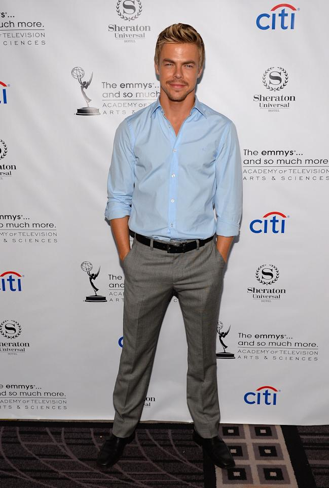 UNIVERSAL CITY, CA - AUGUST 19: Derek Hough arrives at the Academy of Television Arts & Sciences' Performers Peer Group cocktail reception to celebrate the 65th Primetime Emmy Awards at Sheraton Universal on August 19, 2013 in Universal City, California. (Photo by Mark Davis/Getty Images)