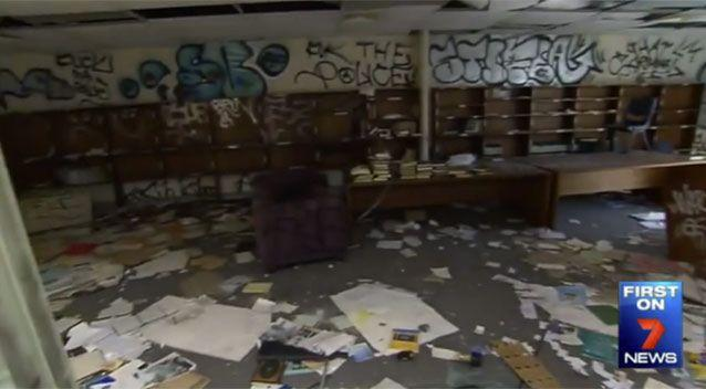 The walls have been plastered with obscene graffiti. Source: 7 News.