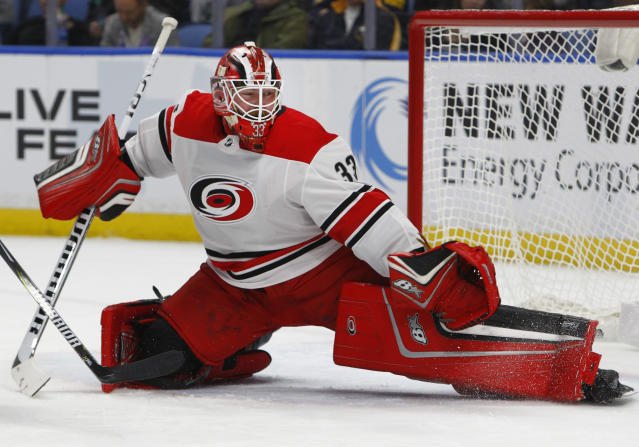 "Goalie <a class=""link rapid-noclick-resp"" href=""/nhl/players/6211/"" data-ylk=""slk:Scott Darling"">Scott Darling</a> should see his numbers improve as Carolina's young defense gains experience. (AP Photo/Jeffrey T. Barnes)"