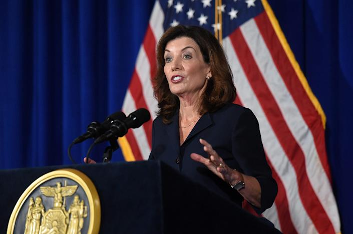 New York Lieutenant Governor Kathy Hochul speaks during a news conference the day after Governor Andrew Cuomo announced his resignation at the New York State Capitol, in Albany, New York, U.S., August 11, 2021.