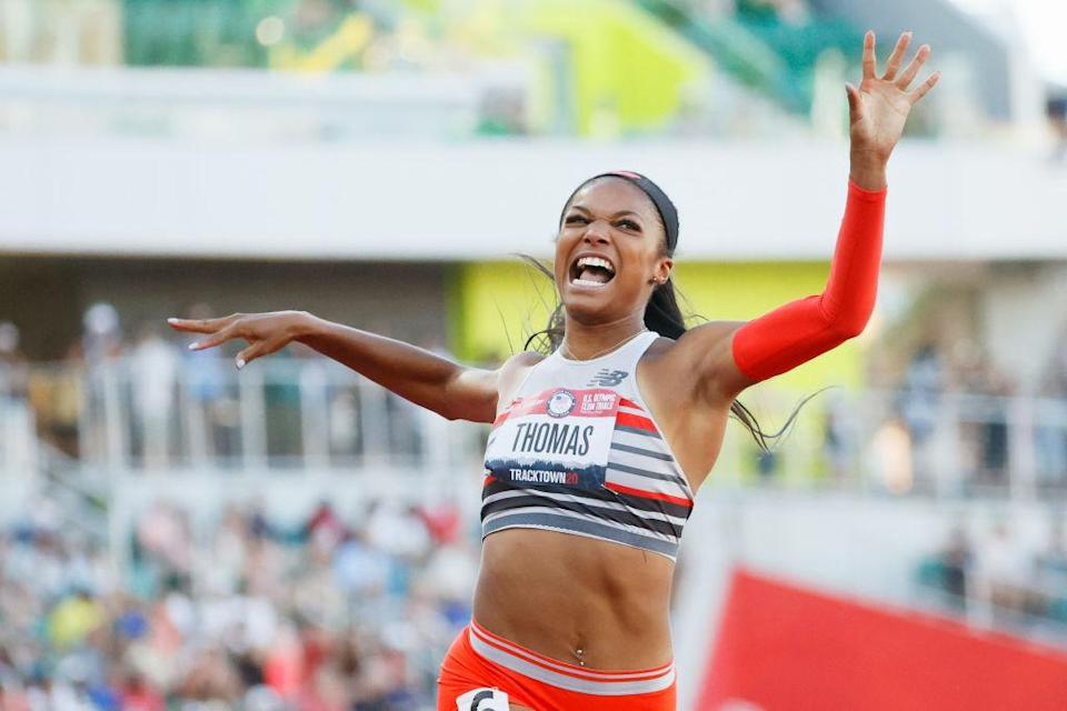 """Gabby Thomas celebrates after crossing the finish line to win the Women's 200-m Final on day nine of the 2020 U.S. Olympic Track & Field Team Trials at Hayward Field on June 26, 2021 in Eugene, Oregon.<span class=""""copyright"""">Steph Chambers—Getty Images</span>"""