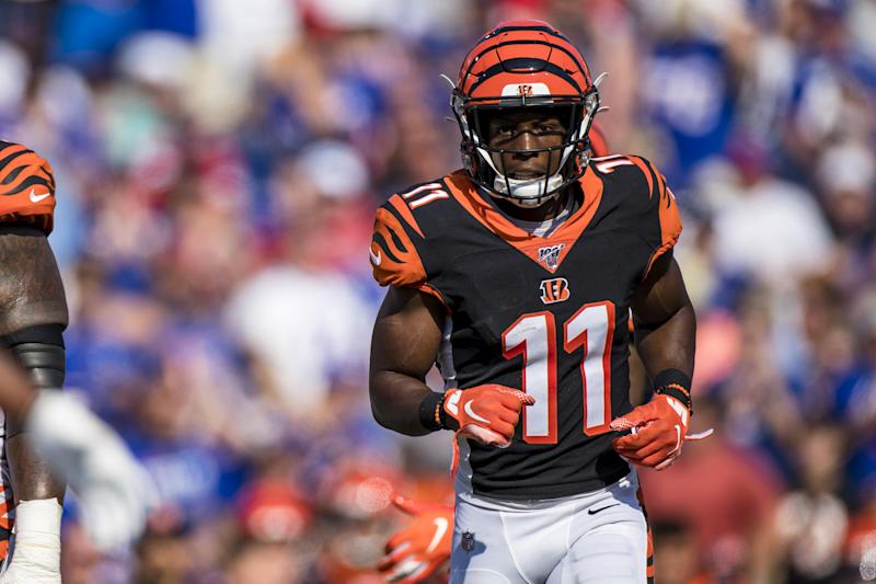 ORCHARD PARK, NY - SEPTEMBER 22: John Ross #11 of the Cincinnati Bengals moves into position during the second half against the Buffalo Bills at New Era Field on September 22, 2019 in Orchard Park, New York. Buffalo defeats Cincinnati 21-17. (Photo by Brett Carlsen/Getty Images)