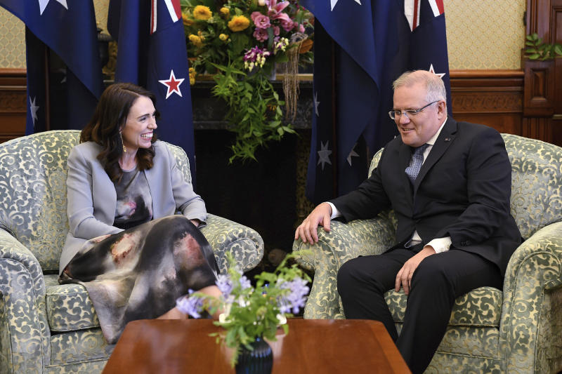 New Zealand Prime Minister Jacinda Ardern, left, talks with Australian Prime Minister Scott Morrison during a meeting at Admiralty House in Sydney, Friday, Feb. 28, 2020. (Bianca De Marchi/Pool Photo via AP)