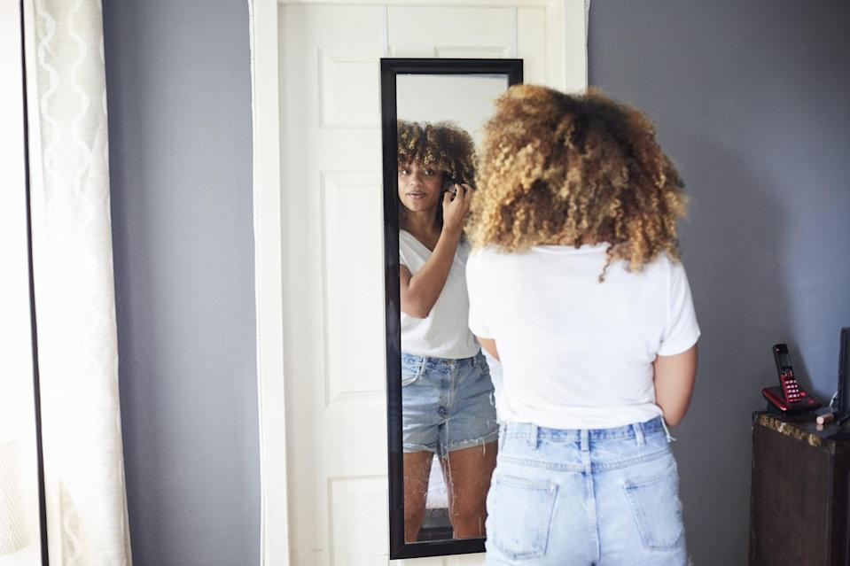 """<p>People with body dysmorphia often have a distorted view of their bodies. """"You might hear people say that other people say their body is one way, but they just don't see it. Or they see themselves as larger than others see them,"""" Dr. Harris said.</p> <h2>What Can Help</h2> <p>Describe your body in nonjudgmental, objective terms. """"Instead of saying, 'My face is fat,' say that 'My face has an oval or heart shape,'"""" Dr. Harris explained. """"When we make judgments about ourselves, they're not accurate - especially when we have body dysmorphia and don't see our body as others do.""""</p> <p>Remember, <a href=""""https://www.popsugar.com/fitness/therapist-taught-me-that-my-anxieties-arent-based-in-fact-47892958"""" class=""""link rapid-noclick-resp"""" rel=""""nofollow noopener"""" target=""""_blank"""" data-ylk=""""slk:feelings aren't facts"""">feelings aren't facts</a>. If you're struggling with these self-criticisms, you might talk also to a therapist, who can help you spot unhelpful thought patterns and develop skills to cope with them.</p>"""