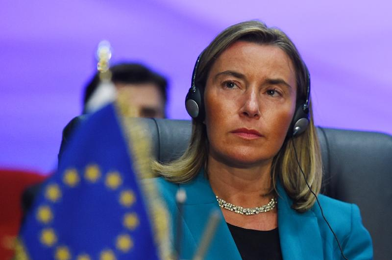 European Union Foreign Policy Chief Federica Mogherini attends the first joint EU and Arab League summit in the Egyptian Red Sea resort of Sharm el-Sheikh, on February 25, 2019