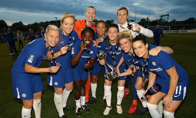 Chelsea celebrate after their 2-0 victory at Bristol City secured the Women's Super League title on Tuesday.