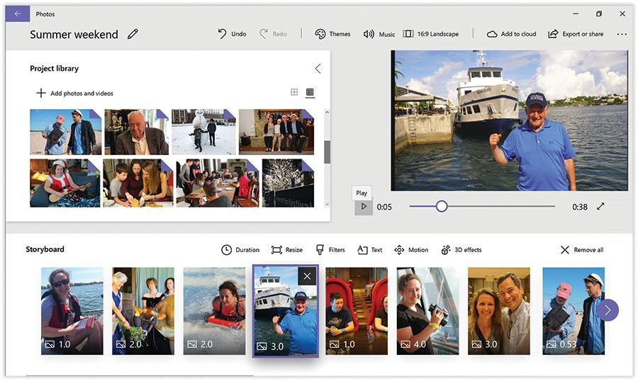 The Photos app can turn batches of photos into animated, musical slideshows.