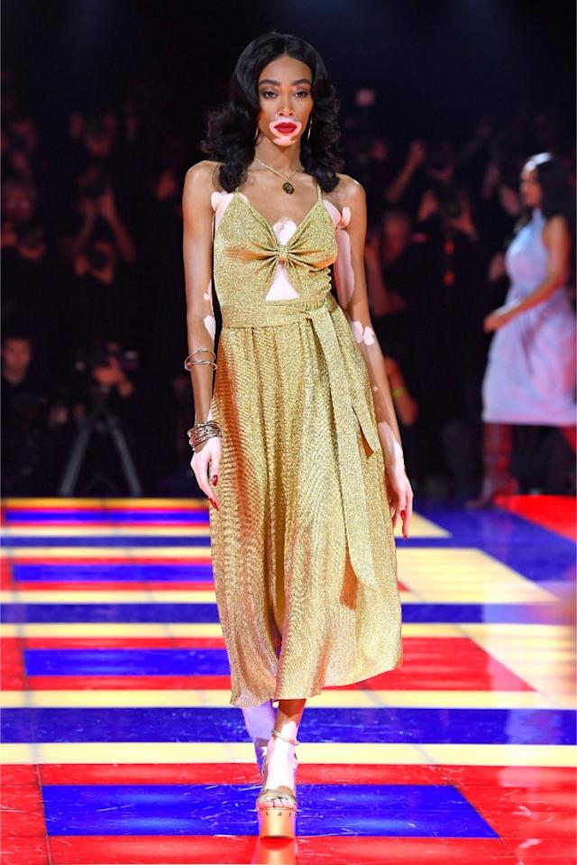 tommy hilfiger zendaya gold dress