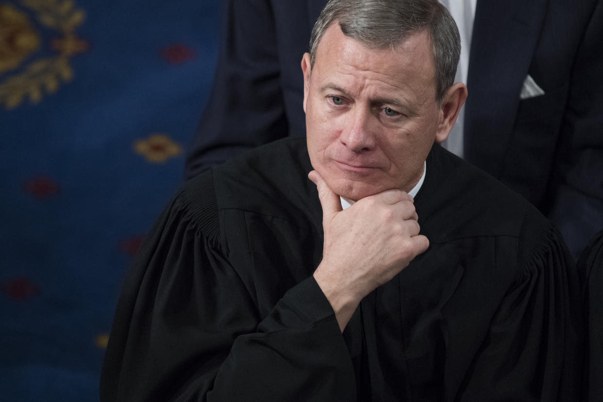 Supreme Court Chief Justice John Roberts listens to President Donald Trump's State of the Union address to a joint session of Congress on January 30, 2018. (Photo: Tom Williams/CQ Roll Call via Getty Images)