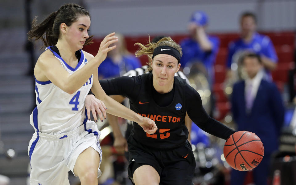FILE - In this March 23, 2019, file photo, Kentucky's Maci Morris (4) guars Princeton's Gabrielle Rush during the second half of a first-round game in the NCAA women's college basketball tournament in Raleigh, N.C. The Ivy League became the first Division I conference this year to cancel all winter sports, including men's and women's basketball. The decision Thursday, Nov. 12, came 13 days before the scheduled start of the college basketball season. (AP Photo/Gerry Broome, File)