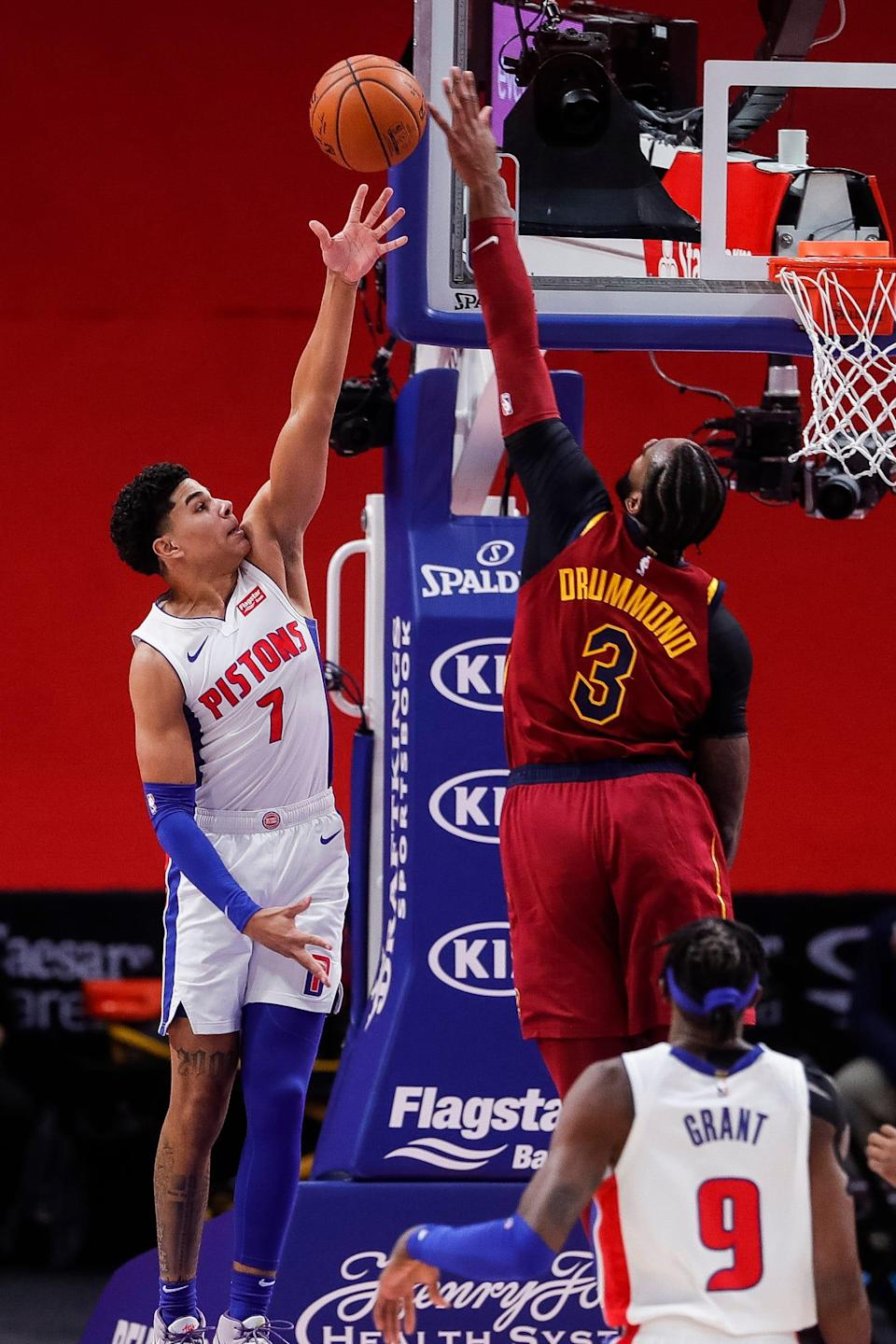 Cleveland Cavaliers center Andre Drummond blocks a layup attempt by Detroit Pistons guard Killian Hayes during the first half at Little Caesars Arena, Saturday, Dec. 26, 2020.